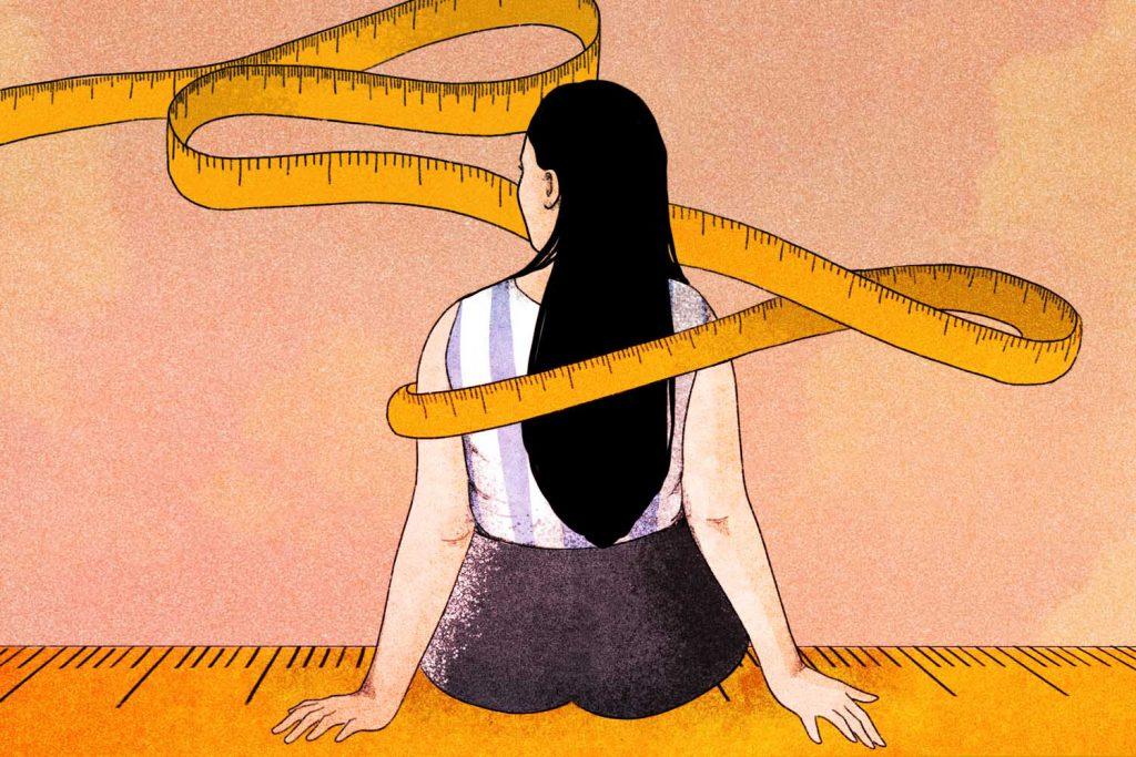 immagine donna con metro di spalle