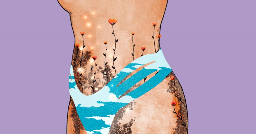 corpo di donna illustrato con costume e neo